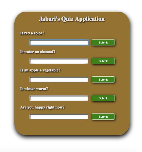 Quiz Form Application built using HTML5, CSS3 and JavaScript.