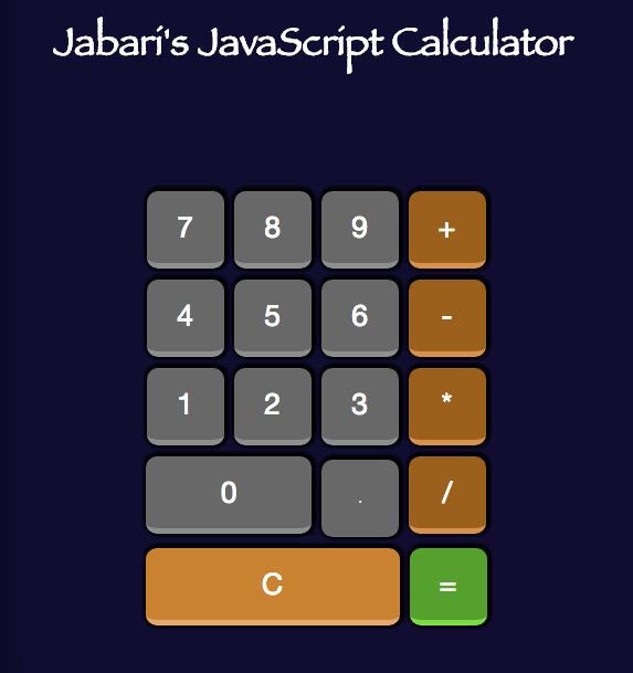 JavaScript Calculator built using HTML5, CSS3 and JavaScript.